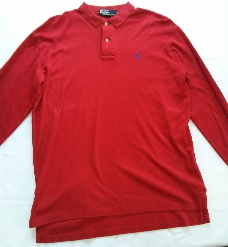 Large Polo Ralph Lauren Red Mens Shirt L Long Sleeve Blue Pony Logo Dress Casual