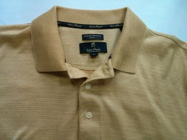 Gary Player XL Golf Polo Mens Shirt Gold 60s Double Mercerized Cotton Rugby 100%