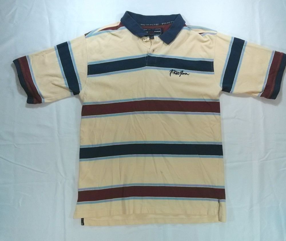 Phat Farm Golf Polo Mens Shirt Yellow Blue Short Sleeve XL X Large Collar Button