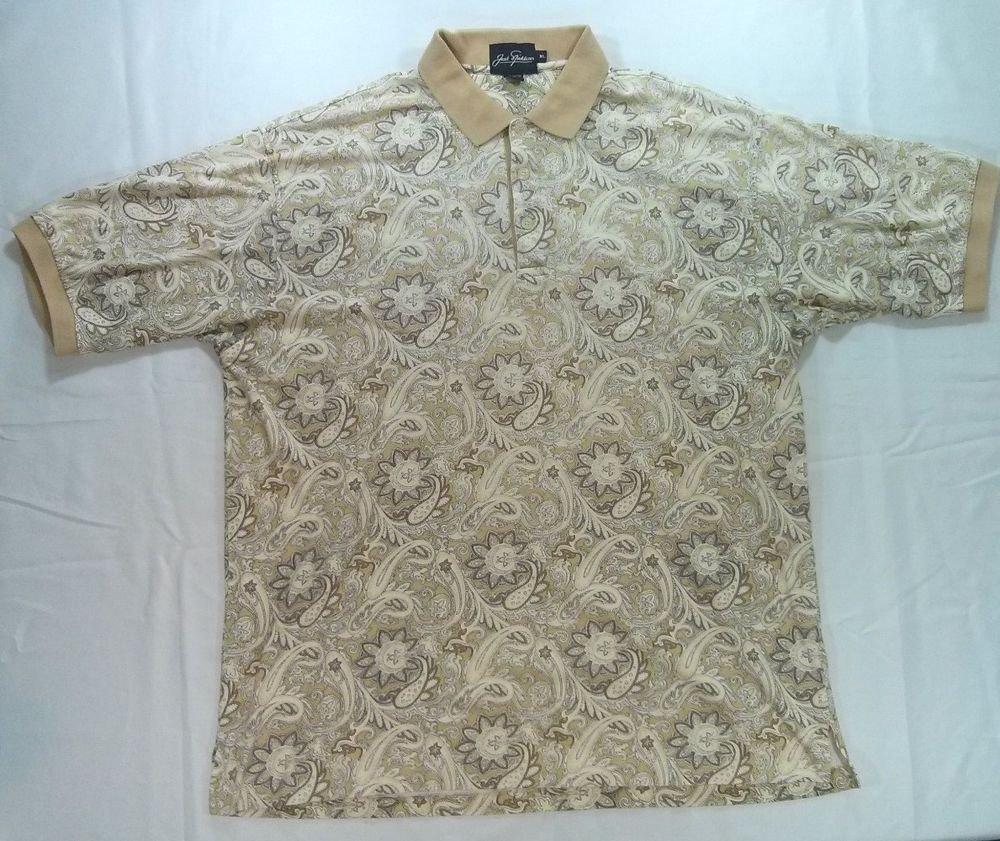 Jack Nicklaus Mens Golf Polo Shirt Cram Floral Button Casual Logo Dress X L XL