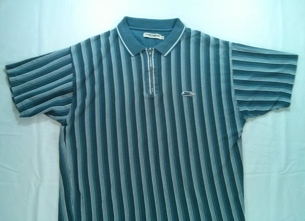 Tom Tailor Polo Golf Mens Shirt XL X Large Blue Casual Short Sleeve Zip Zipper