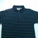 Mile 4 Stripe Medium M Men Polo Golf Shirt Blue White Short Sleeve Collar Button