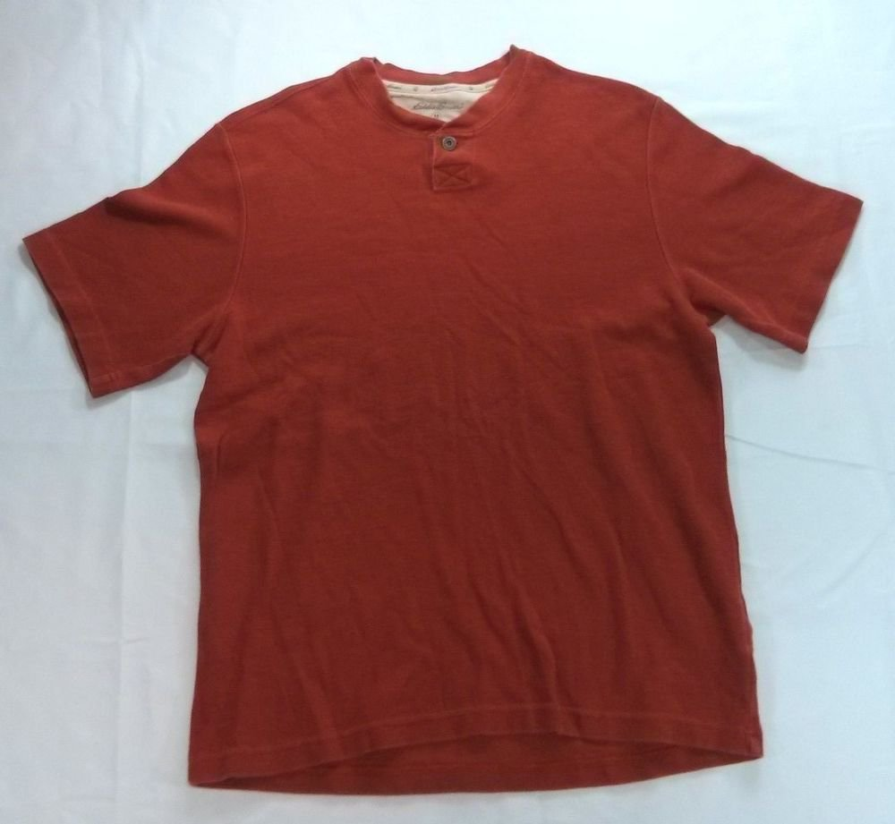 Eddie Bauer Medium Red Short Sleeve Camping Mens Shirt M Hunting Henley Fit