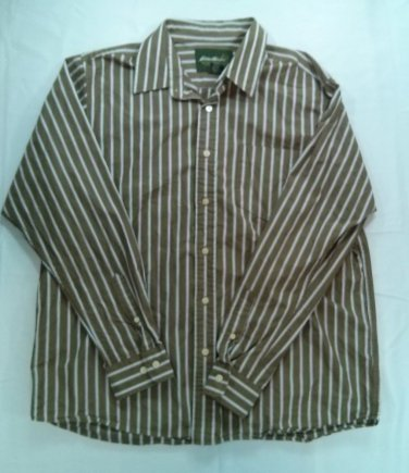 Eddie Bauer Brown Long Sleeve Camping Men Large L Stripe Blue White Button Shirt