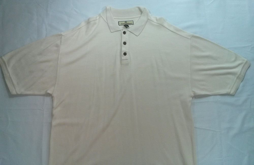 Tommy Bahama Golf Polo Mens Shirt White Cream L Large Logo Silk Cotton Blend