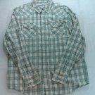 Aeropostal Large Plaid White Blue Plaid Pearl Snap Long Sleeve Men Shirt L Check