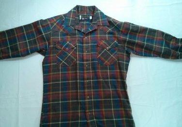 Panhandle Slim Pearl Snap Long Sleeve Blue Red Shirt Plaid Medium 15 1/2 33 Mens