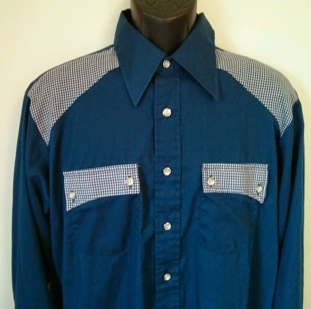 Large Mens Elderado Western Pearl Snap Blue Plaid Shirt Made In USA Rockabilly L