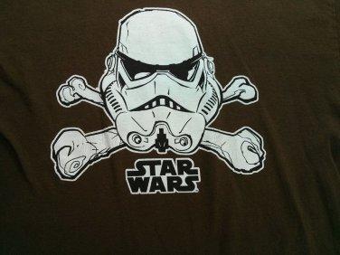 Brown Large 42/44 Star Wars Stormtrooper Skull Crossbones T Shirt Jolly Roger L