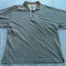 Cutter And Buck Striped Beige Tan Medium M Mens Shirt 100% Cotton Short Sleeve