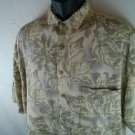 Hawaiian Pierre Cardin Large L Tropical Shirt 100% Rayon Green Flower Men's