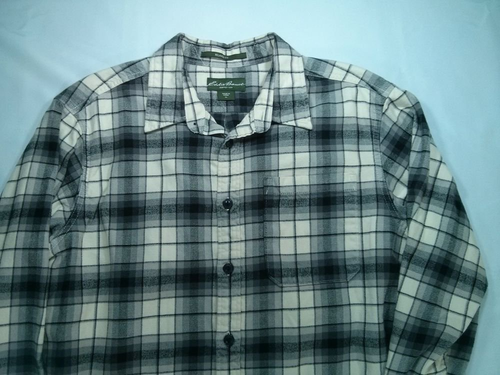 Eddie Bauer Mens Flannel Shirt XL X Large White Black Relaxed Fit Plaid Check