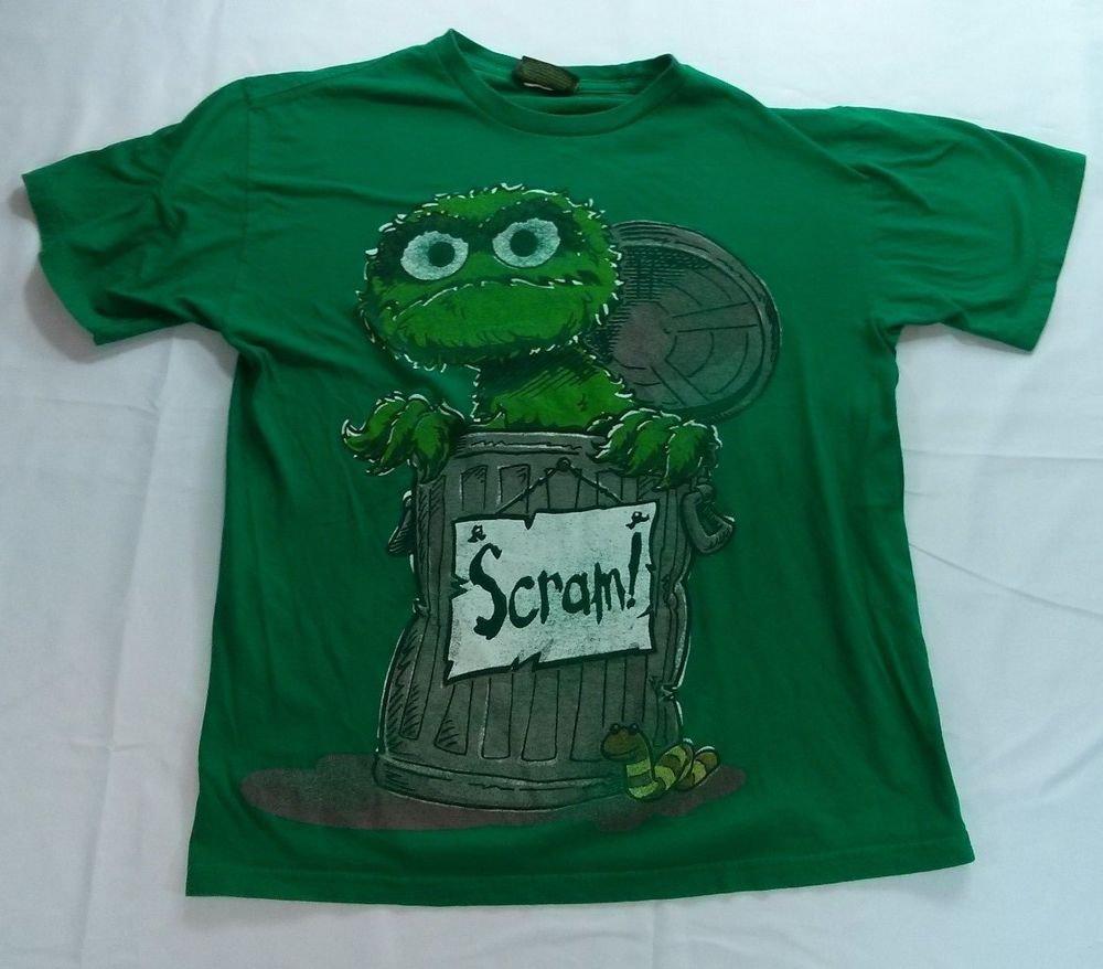 Oscar The Grouch Sesame Street Green Scram Workshop Garbage Can Slimey Small S