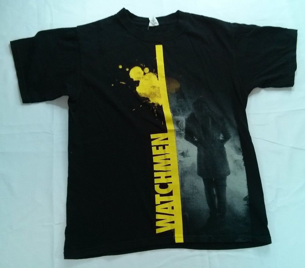 Watchmen DC Movie Comic Black Mens T Shirt Rorschach Medium M Super Hero TShirt