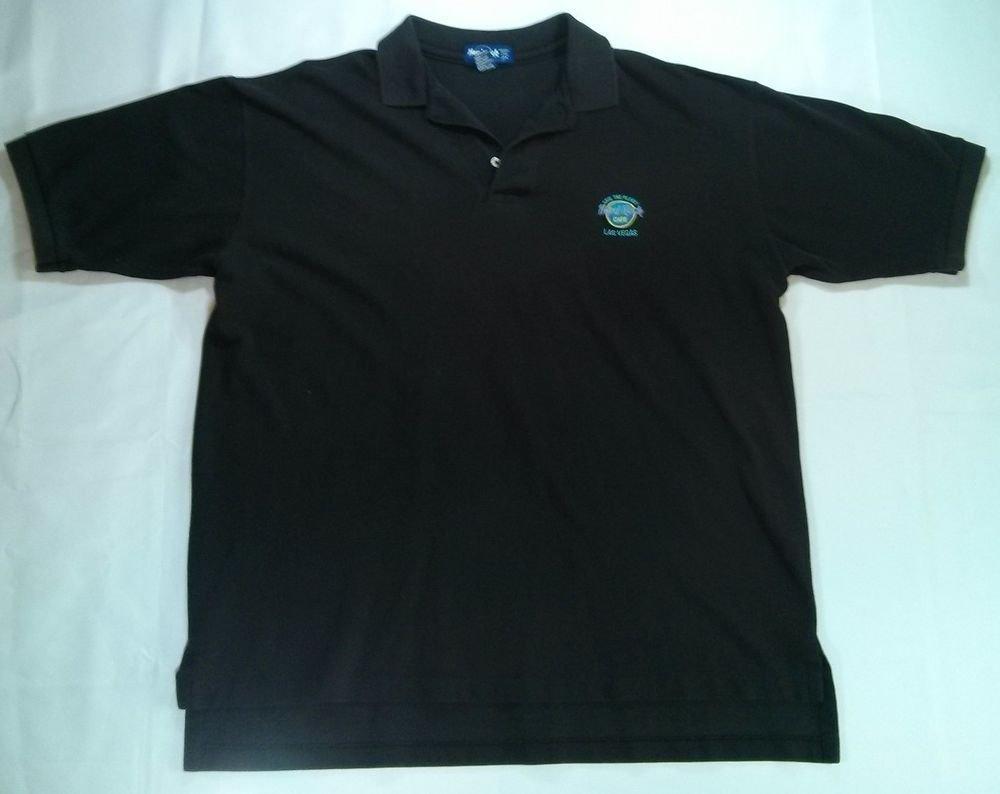 Hard Rock Cafe Las Vegas Polo Large Short Sleeve Hardrock Black Save The Planet