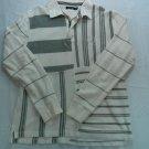 Nautica Large L White Gray Zip Zipper Polo Stripe Logo N C 83 Long Sleeve Casual