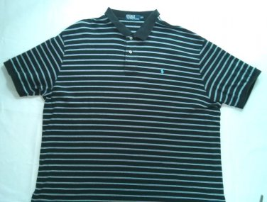 Ralph Lauren Polo Stripe Blue Mens Shirt XXL 2X 2XL X X Large Dress Casual Pony