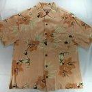 Caribbean Joe Peach Hawaiian Tropical Surf Short Sleeve Mens Shirt Small S Rayon