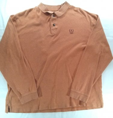 Izod Orange Large L Polo Golf Mens Shirt Dress Casual Logo Button Long Sleeve