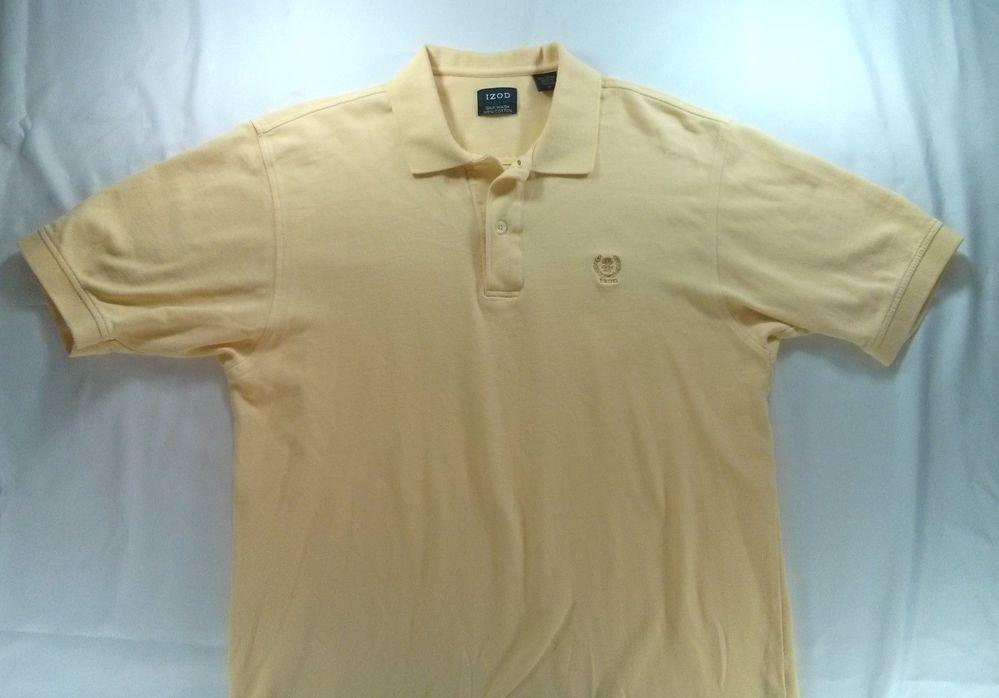 "Izod ""Silk Wash"" Yellow Medium M Polo Golf Mens Shirt Dress Casual Logo Button"