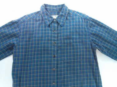 Eddie Bauer Womens Flannel Shirt Blue Small S Camping Hunting Plaid Check Pocket