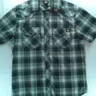 Black Pearl Snap Plaid Mens Small S Shirt Dickies Short Sleeve Check Pocket Gray