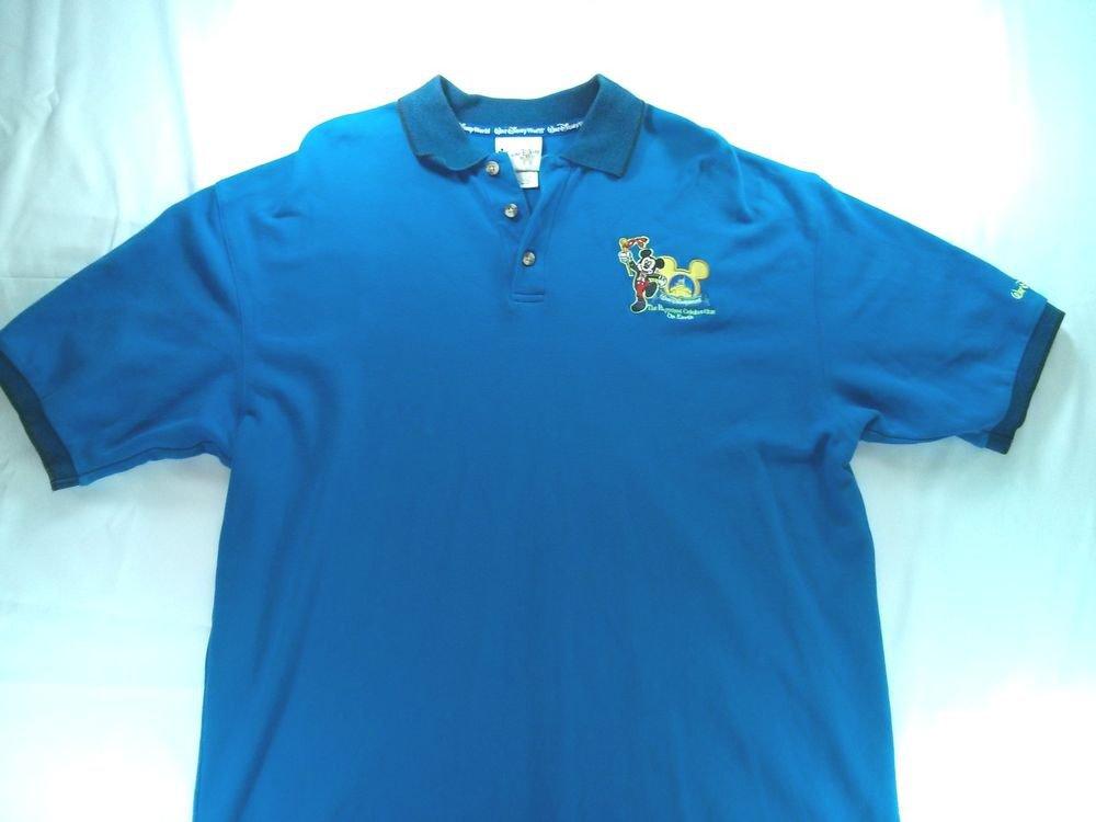 Walt Disney World Blue Polo Dress Shirt Mens Womens XL X L Large Mickey Land Blu