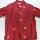 Caribbean Joe Hawaiian Shirt Magnum PI L Large 100% Silk Men's Red Beach Surf
