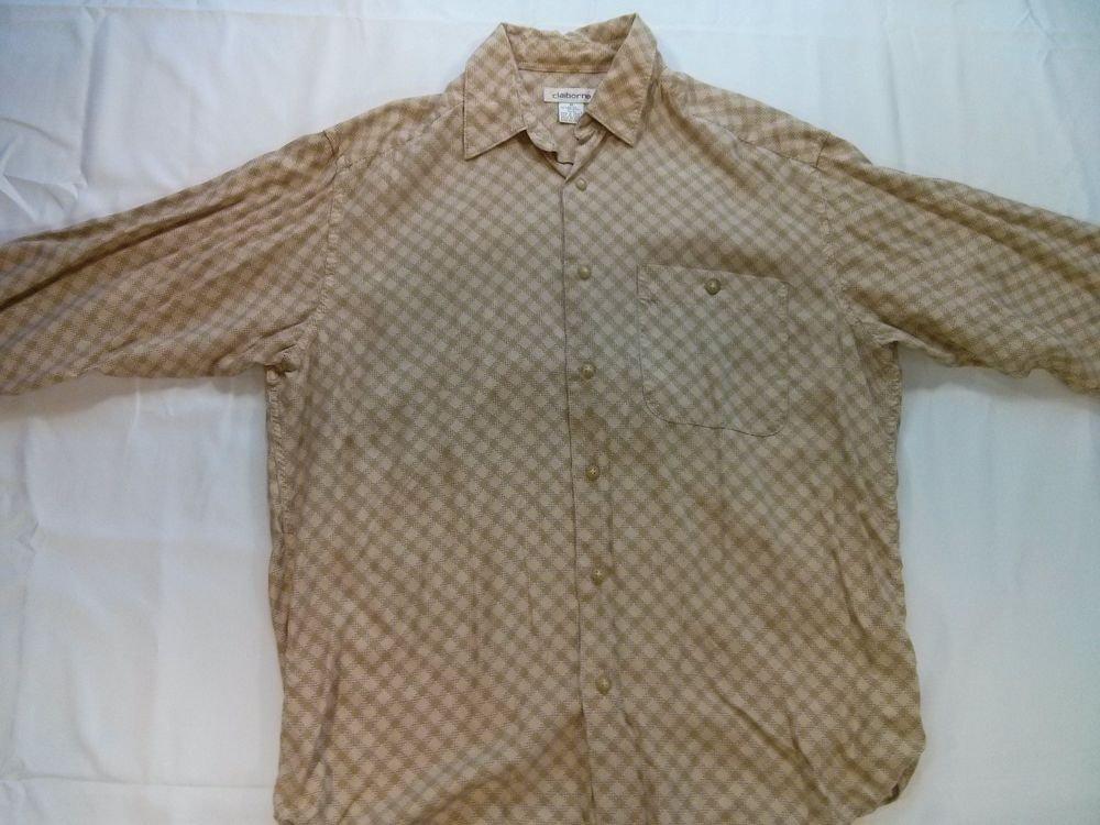 Clairborne Long Sleeve Men's Shirt 100% Rayon Diamond Medium M Long Sleeve Retro