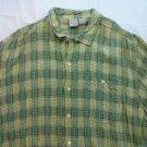 OP Men's Ocean Pacific Shirt Hawaiian XL Rayon XLarge Green Plaid Cotton Beach