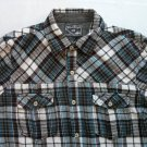 Wear First Small Boys Flannel Pearl Snap Black White Plaid Check Shirt Long
