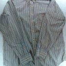 Beige Blue Stripe Chaps Mens Shirt 16 1/2 Large L Long Sleeve Wrinkle Free 34/35
