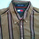 Tommy Hilfiger Stripe Striped Brown Logo L Large Men's Shirt Long Sleeve Button