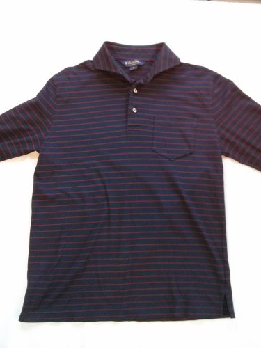 Brooks Brothers Medium M Stripe Striped Polo Shirt Blue Red Long Sleeve Men's