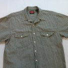 Wrangler Hero Button Front XL Bumpy Check Plaid Pocket XLarge Short Sleeve