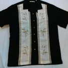 Batik Bay Black Hawaiian Palm Trees Medium M Men's Shirt Beach Tropical Surf