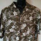 La Cabana M Medium Hawaiian 55% Linen 45% Viscose Wood Pattern Mens Shirt Men