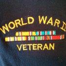 World War II Veteran Mens Shirt 100% 2X XX Blue Polo Vet WWII EMBROIDERED XXL