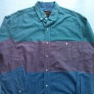 Eddie Bauer LT Mens Shirt Vintage Large Tall Long Sleeve Stripe Blue Red Green