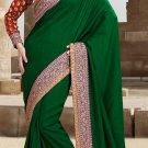 Heavy Embroidered Green Silk Sari Bollywood Designer Party Wear Saree SM1616