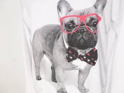 BT99 NEW SIZE M BOSTON TERRIER PARTY DOG FUNNY RARE  RUE 21 SOFT WOMAN SHIRT
