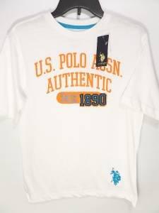 BRAND NEW SIZE 14-16  ORANGE BLUE WHITE BOYS U.S POLO ASSN PREMIUM LOGO SHIRT