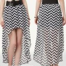 BW11 NEW SIZE S WHITE BLACK CHEVRON RUE 21 HIGH LOW CHIFFON FASHION WOMEN SKIRT