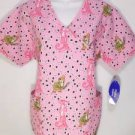 N882 NEW SZ L FUNNY THE PINK PANTHER PAW PRINTS WOMAN UNIFORM SCRUB SHIRT