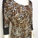 CJ83 NEW SIZE M RUE 21 FITTED RAYON DESIGNER TUNIC LEOPARD WOMAN LONG SHIRT
