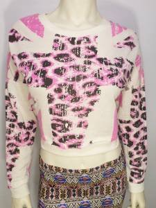 SS11 NEW SIZE L SEXY PINK CREME CROSS CHEETAH CROPPED RUE 21 WOMAN SHIRT