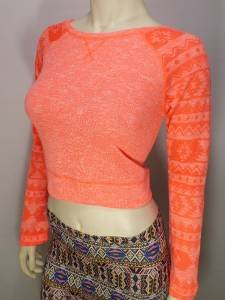 PN83 NEW SIZE M SEXY NEON ORANGE BURNOUT AZTEC CROPPED RUE 21 WOMAN SHIRT