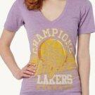 B488 NEW SIZE XL LOS ANGELES LAKERS CHAMPIONS NBA BURNOUT LITE VNECK WOMEN SHIRT