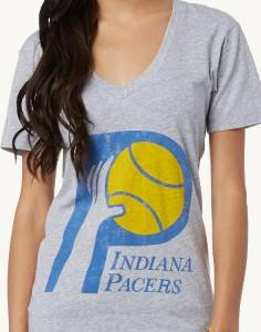 ID44 NEW SIZE M NBA INDIANA PACERS GRAY BLUE GOLD CLASSIC  VNECK WOMEN SHIRT