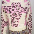 DK83 NEW SIZE M SEXY PINK CREME CROSS CHEETAH CROPPED RUE 21 WOMAN SHIRT